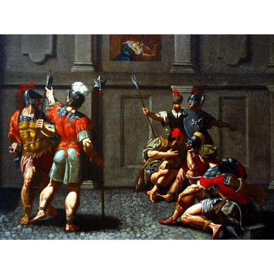 """Important Old Table, Oil On Canvas, Historical Scene """"king Saul And David""""  16th/ 17th Century"""