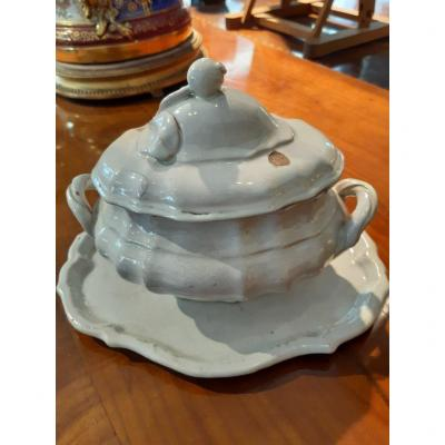 Soupière Ancienne En Céramique Avec Couvercle Et Plateau, Fabrication Italienne Du XVIIIe Siècl
