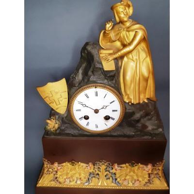 Horloge Française Ancienne En Bronze Doré Et Décorée d'émaux