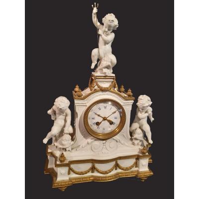 Cartel Ancienne En Biscuit Et Bronze Doré De Sèvres, France 19ème Siècle, Signée