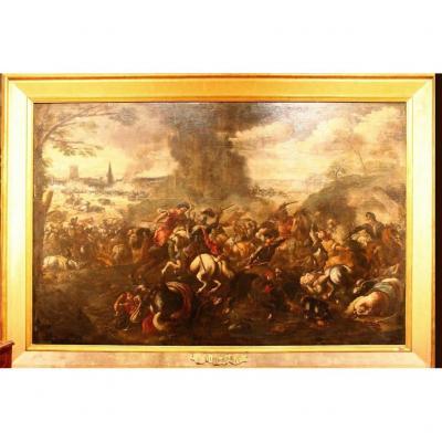 Grande Bataille, Tableau à l'Huile Sur Toile, Salvator Rosa, 17e Siècle
