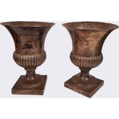 Ancienes Paire De Vases  Empire En Argent, Fabrication Italienne Du 19ème Siècle