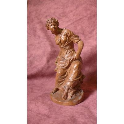 Sujet Féminin En Plâtre Sculpté 19°