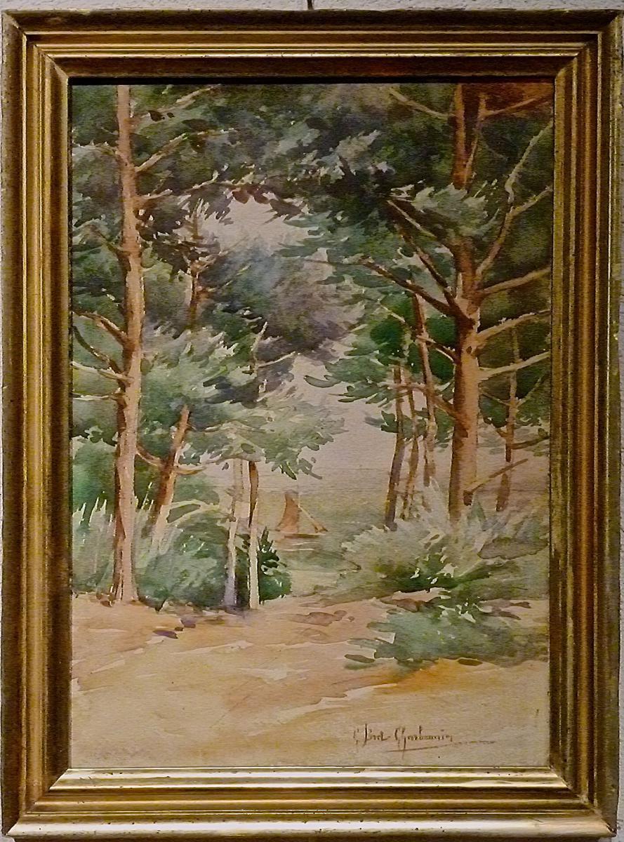 Pinède au bord du litoral par CLAUDIA BRET-CHABONNIER (1863-