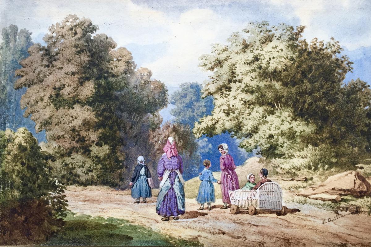 PROMENADE EN FAMILLE aquarelle de P. GUILLAUMOT XIXème