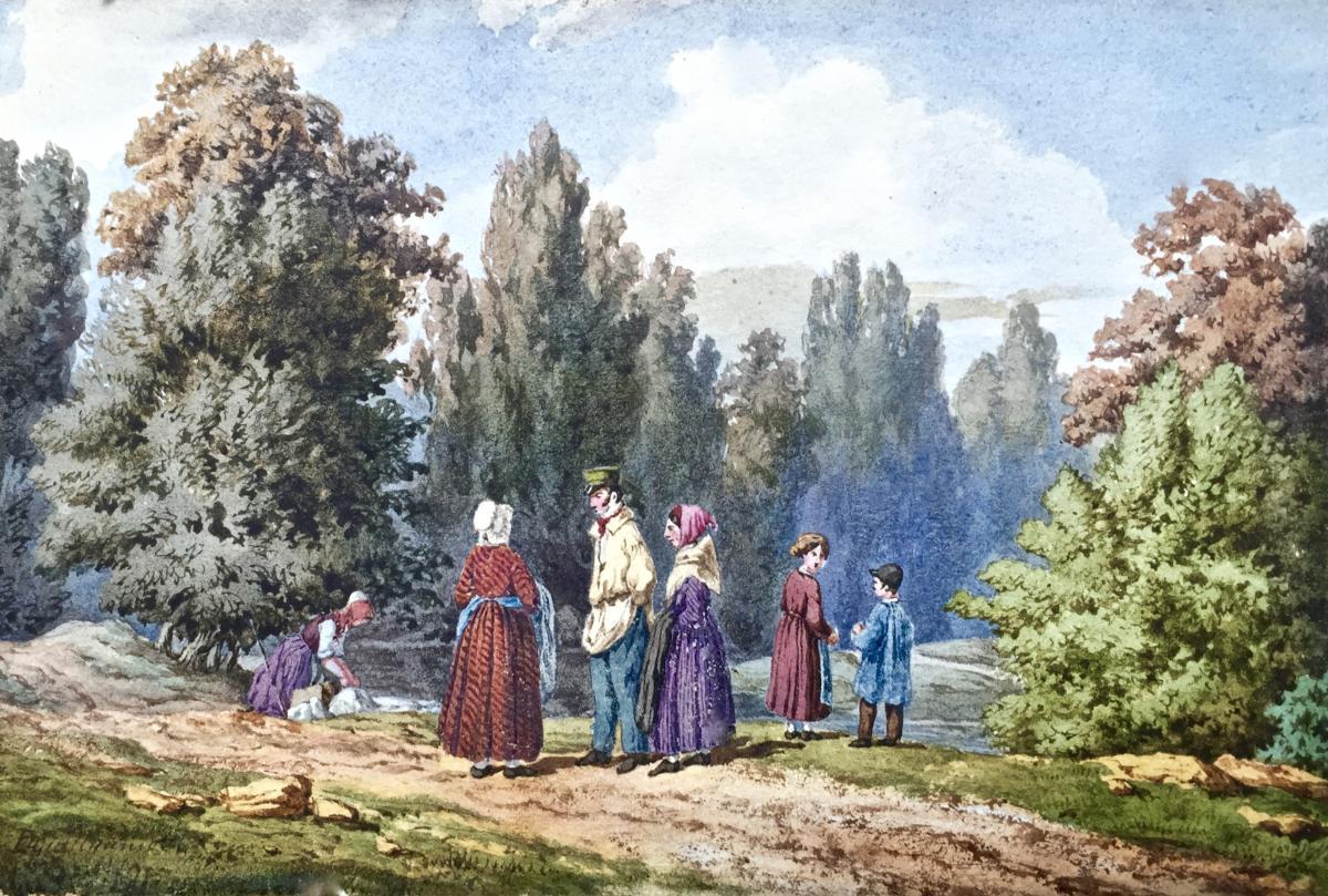 VISITE EN FAMILLE aquarelle par P. GUILLAUMOT (XIXème)
