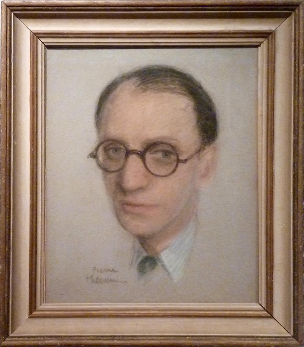 Man With Pastel Glasses Round Pierre Thevenin (1905-1950