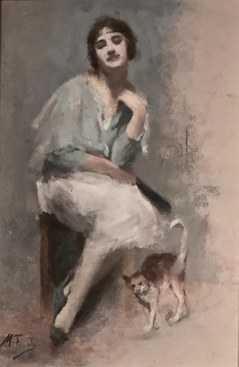 LE CHAT ET SA MAITRESSE par Michel FRONTI (1862-1935))
