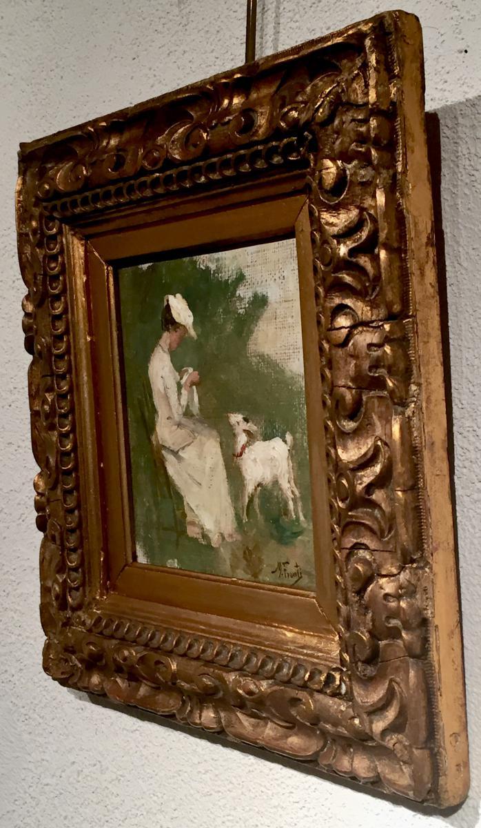 La CHEVRE et L'OUVRAGE de COUTURE par Michel FRONTI (1862-1935)-photo-3
