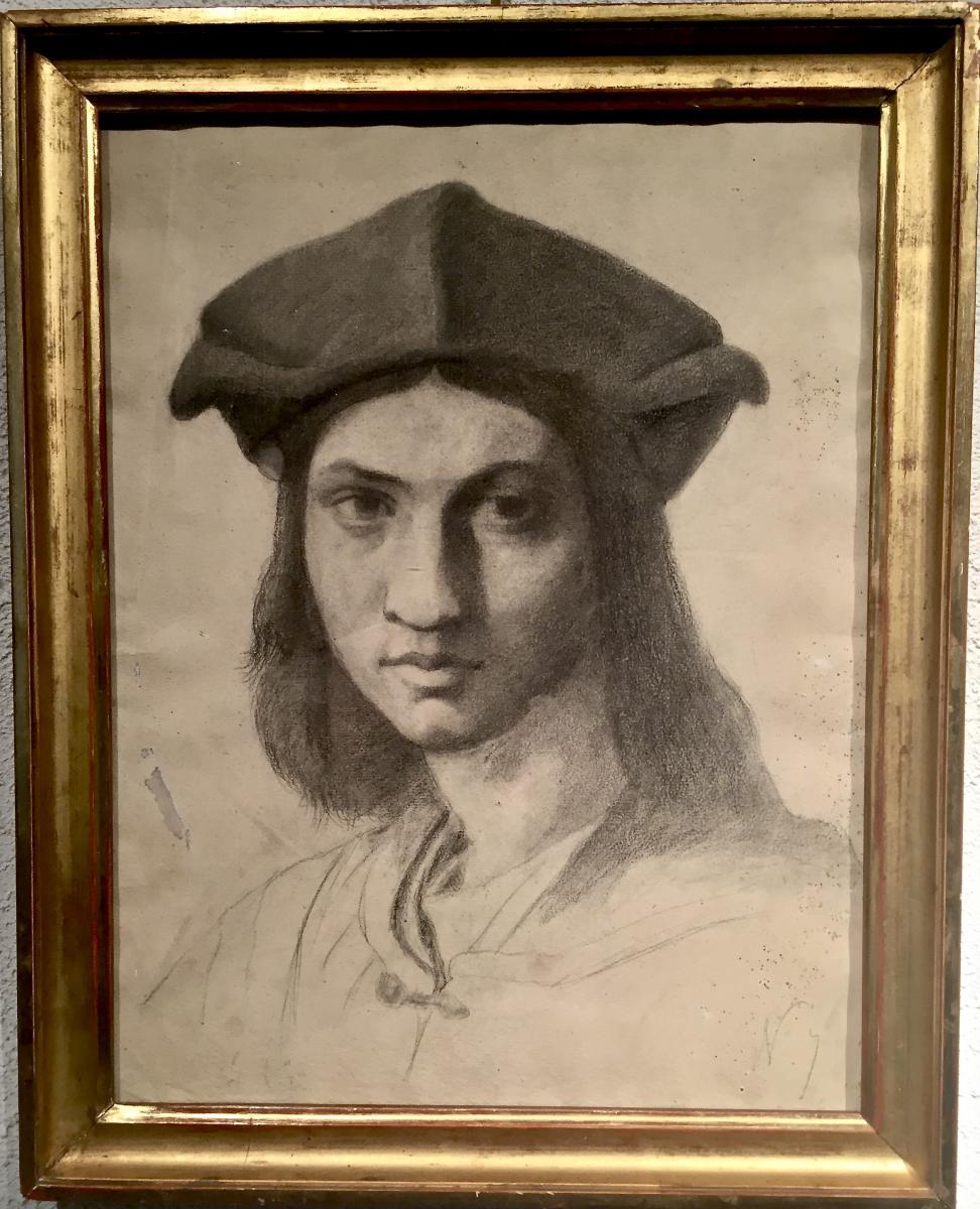 RAPHAEL - Portrait de Agnolo DONI - Dessin fusain XIX ème - non signé