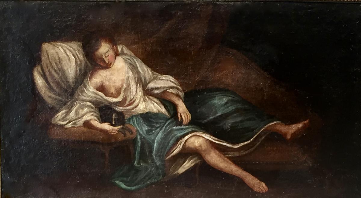 FEMME sur canapé, petit CHIEN sur guéridon - XVIII ème - non signé