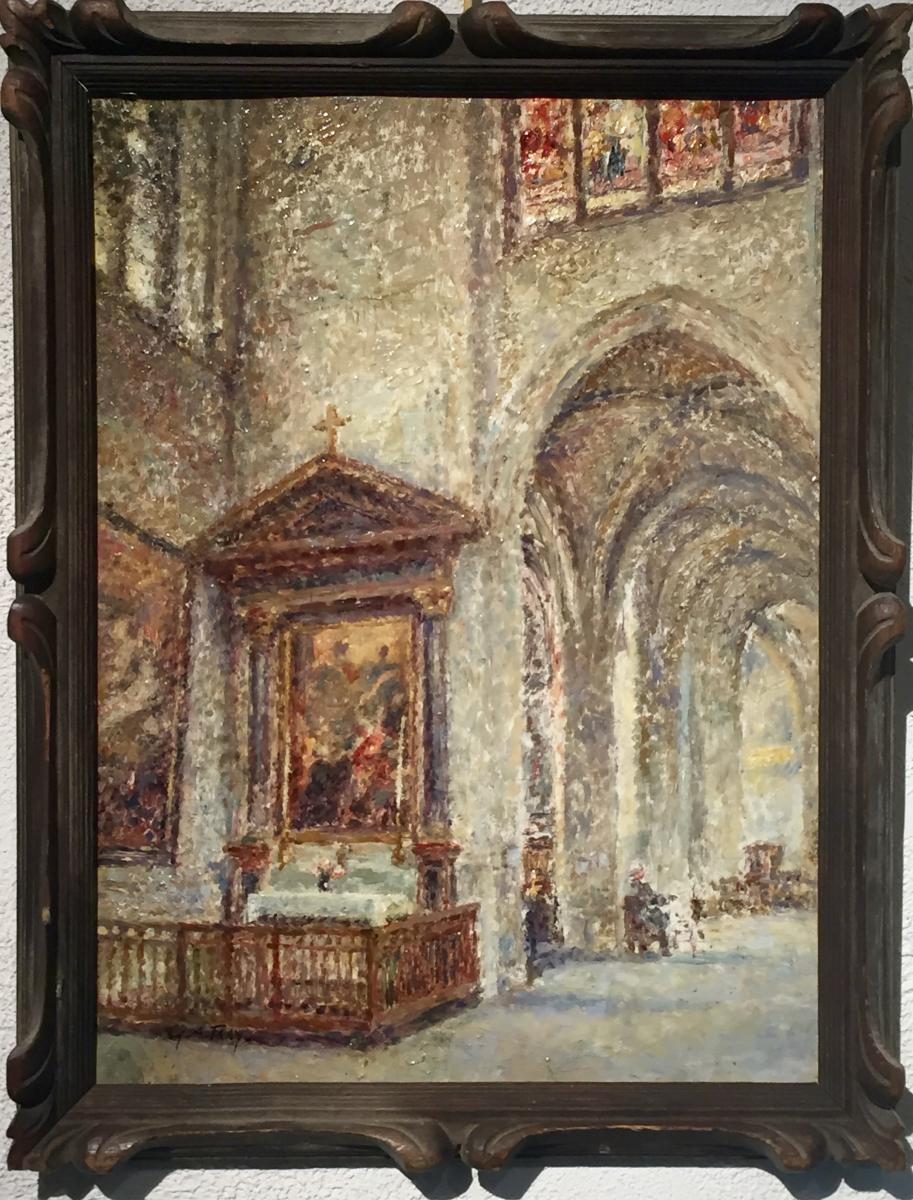 Georges Aufray 1864-1941) - Pointilliste - Gothic Church