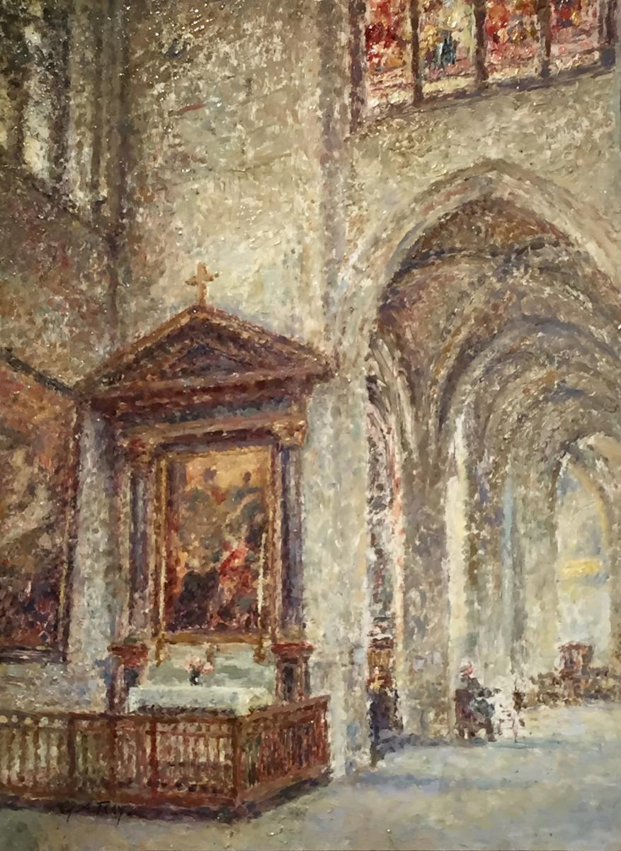 Georges Aufray 1864-1941) - Pointilliste - Gothic Church-photo-2