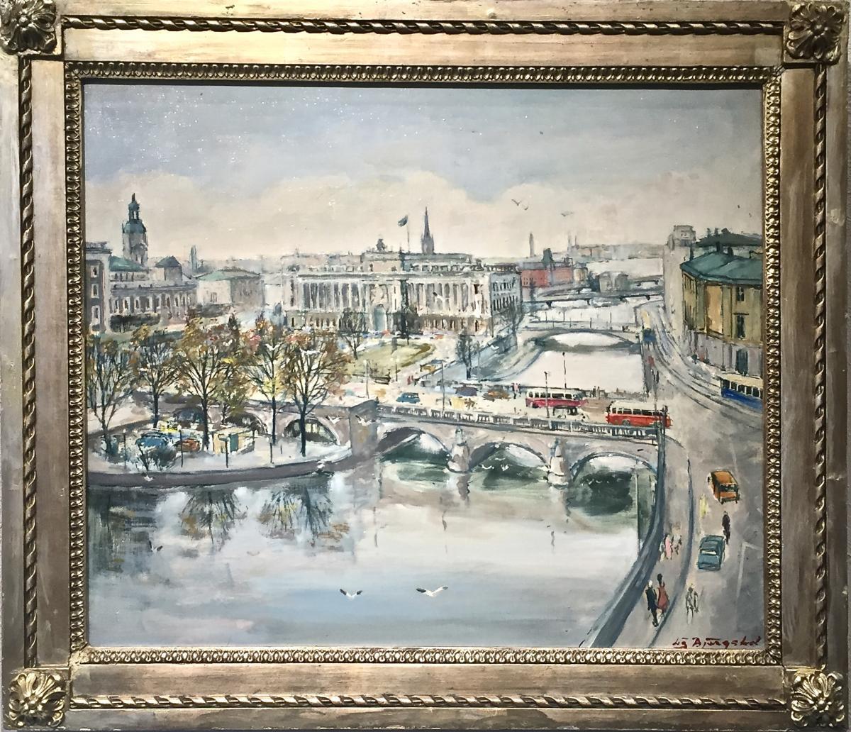 STOCKHOLM - Vue sur le PARLEMENT - Années 50 - Lis BJERGSTED (1929-2011)