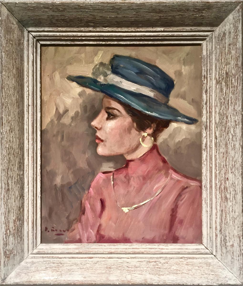 Woman In Blue Hat - Luigi Di Rocca