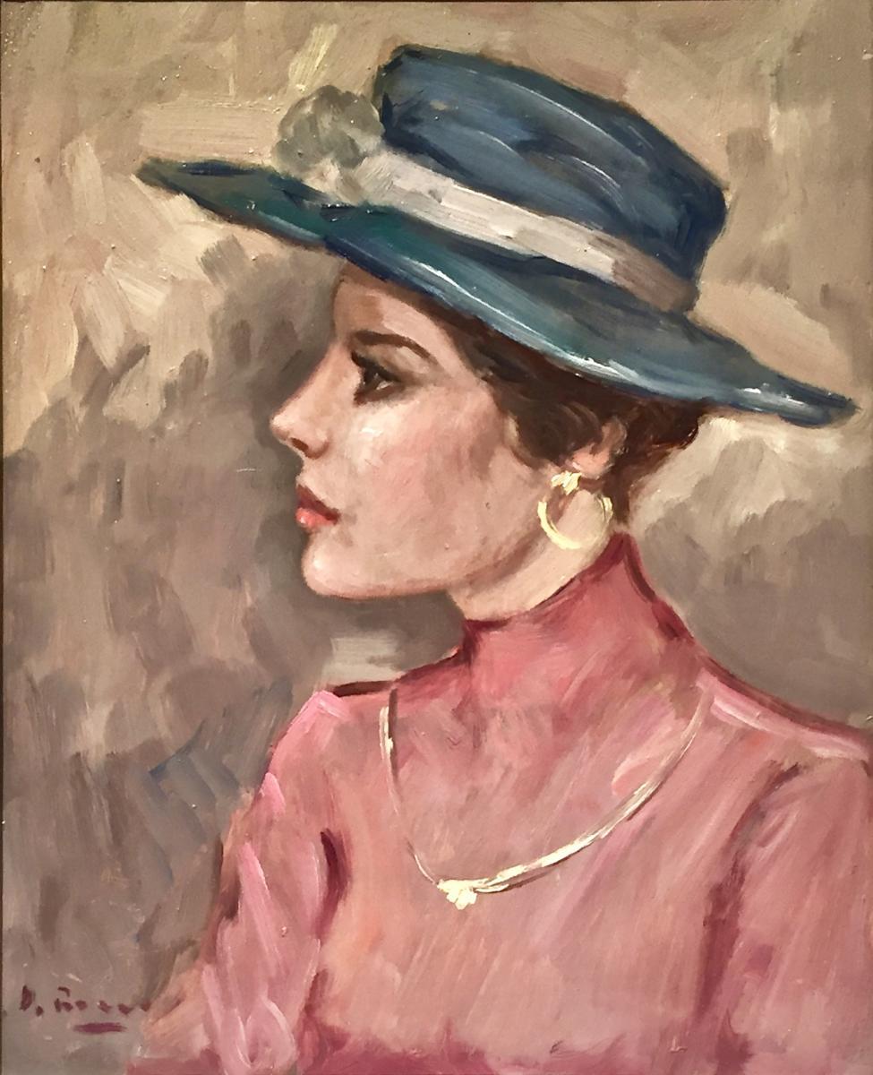 Woman In Blue Hat - Luigi Di Rocca-photo-2