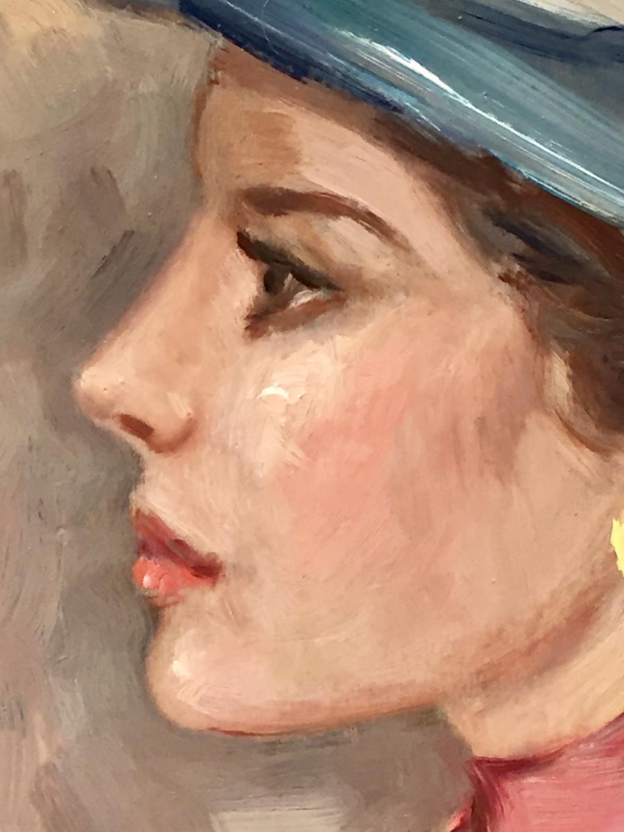Woman In Blue Hat - Luigi Di Rocca-photo-3