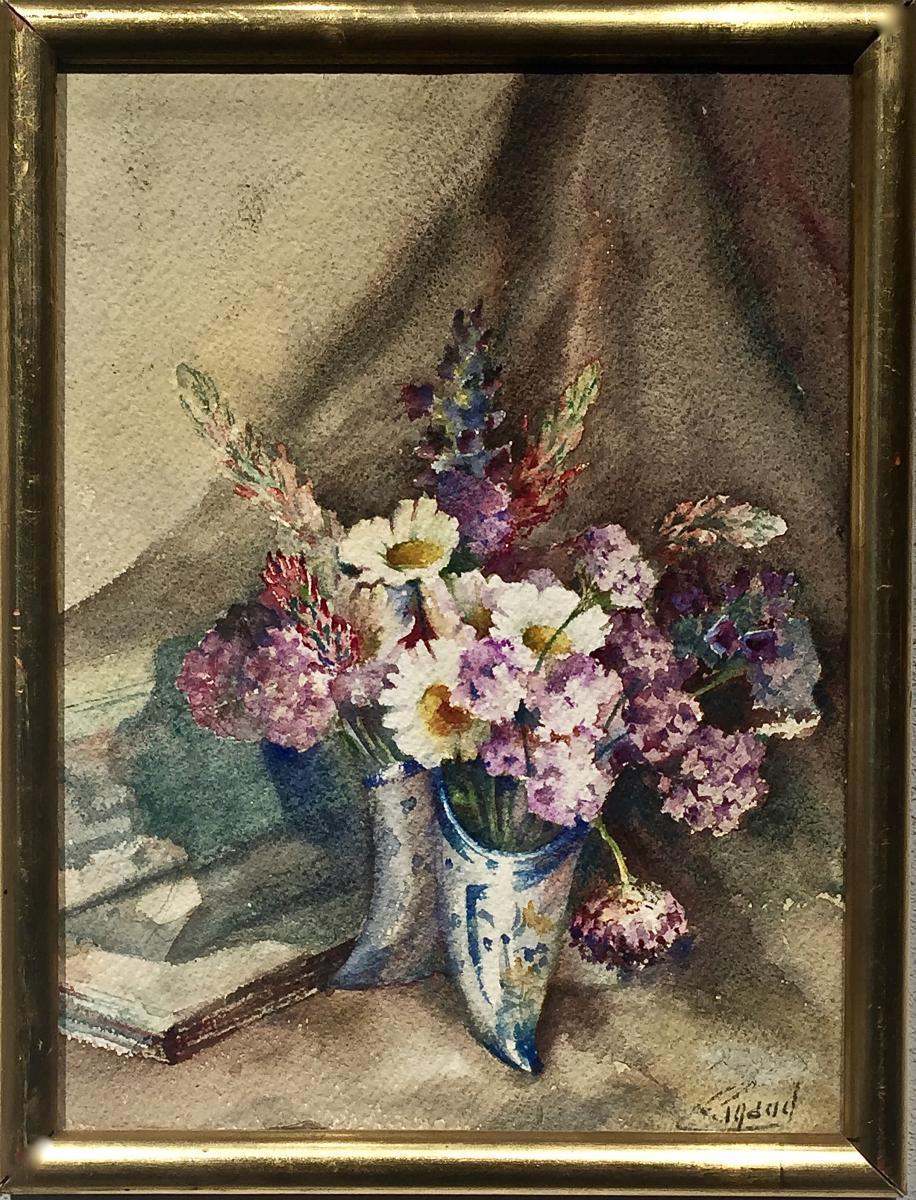 """Pierre Gaston RIGAUD (1874-1939) - FLEURS dans vase """"sabot"""""""