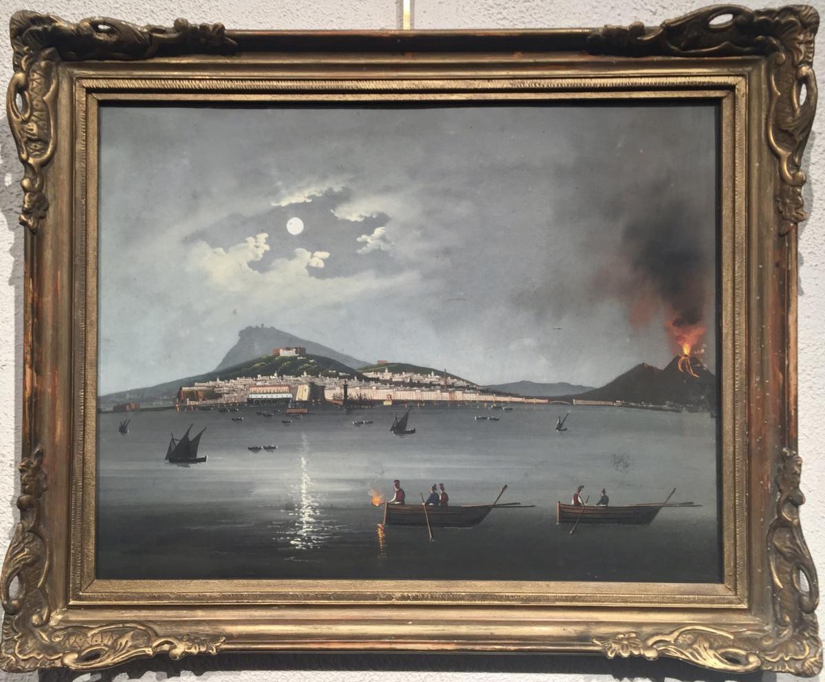 VESUVE - Eruption 1872 - GOUACHE NAPOLITAINE - Non signée