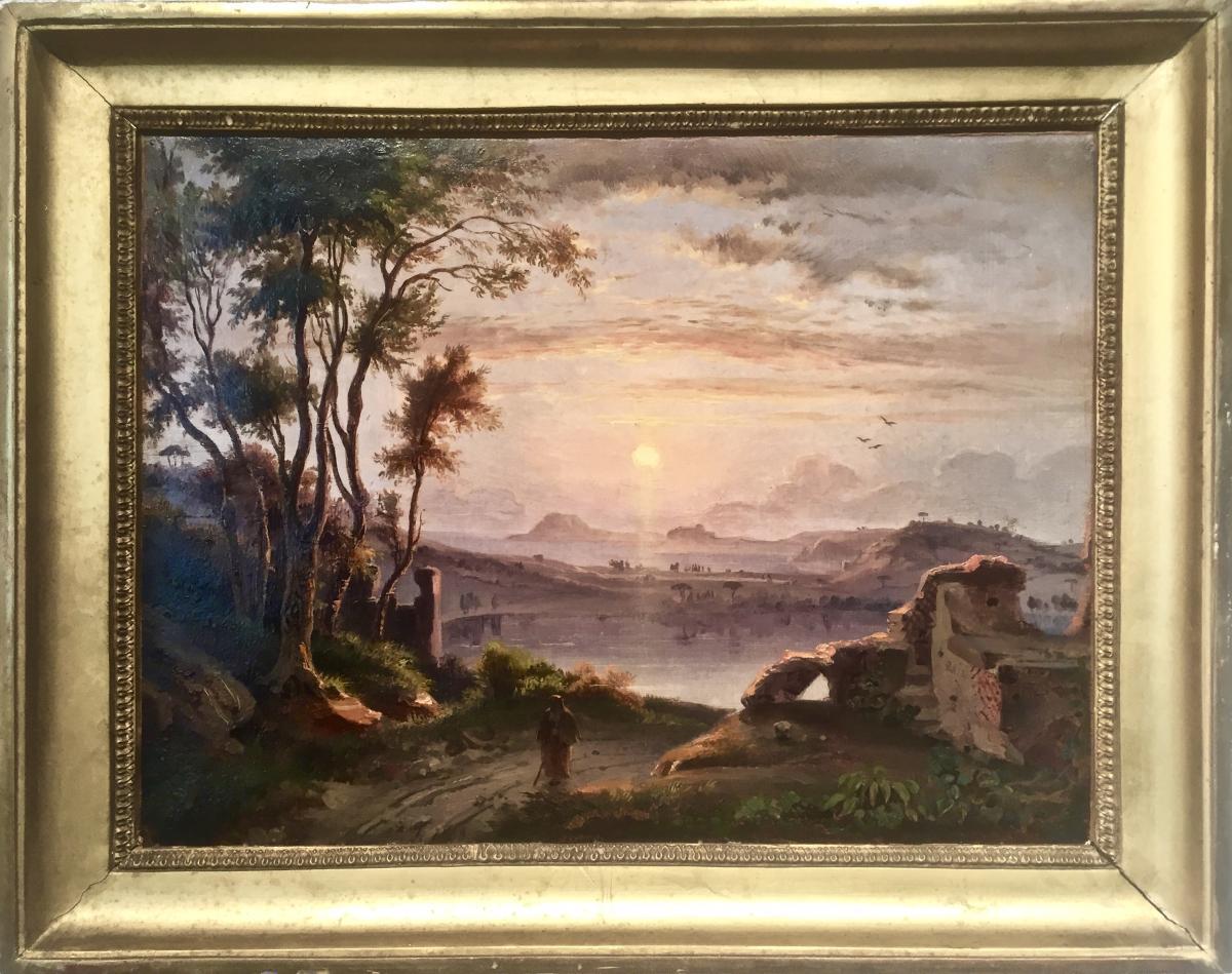 La BAIE de NAPLES - Monogrammée C.J. 1843