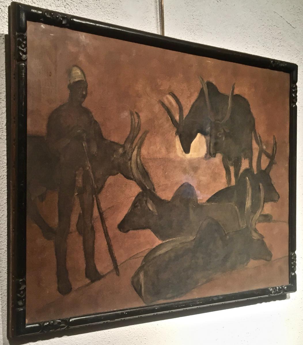 Fernand LANTOINE (1876-1953) - GARDIEN de ZEBUS-photo-2