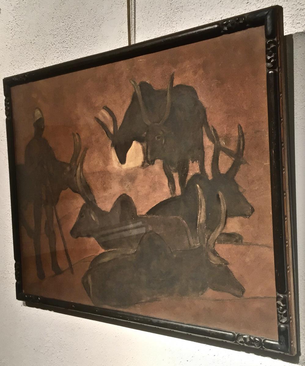 Fernand LANTOINE (1876-1953) - GARDIEN de ZEBUS-photo-3