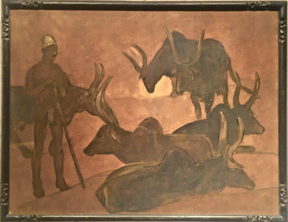 Fernand LANTOINE (1876-1953) - GARDIEN de ZEBUS