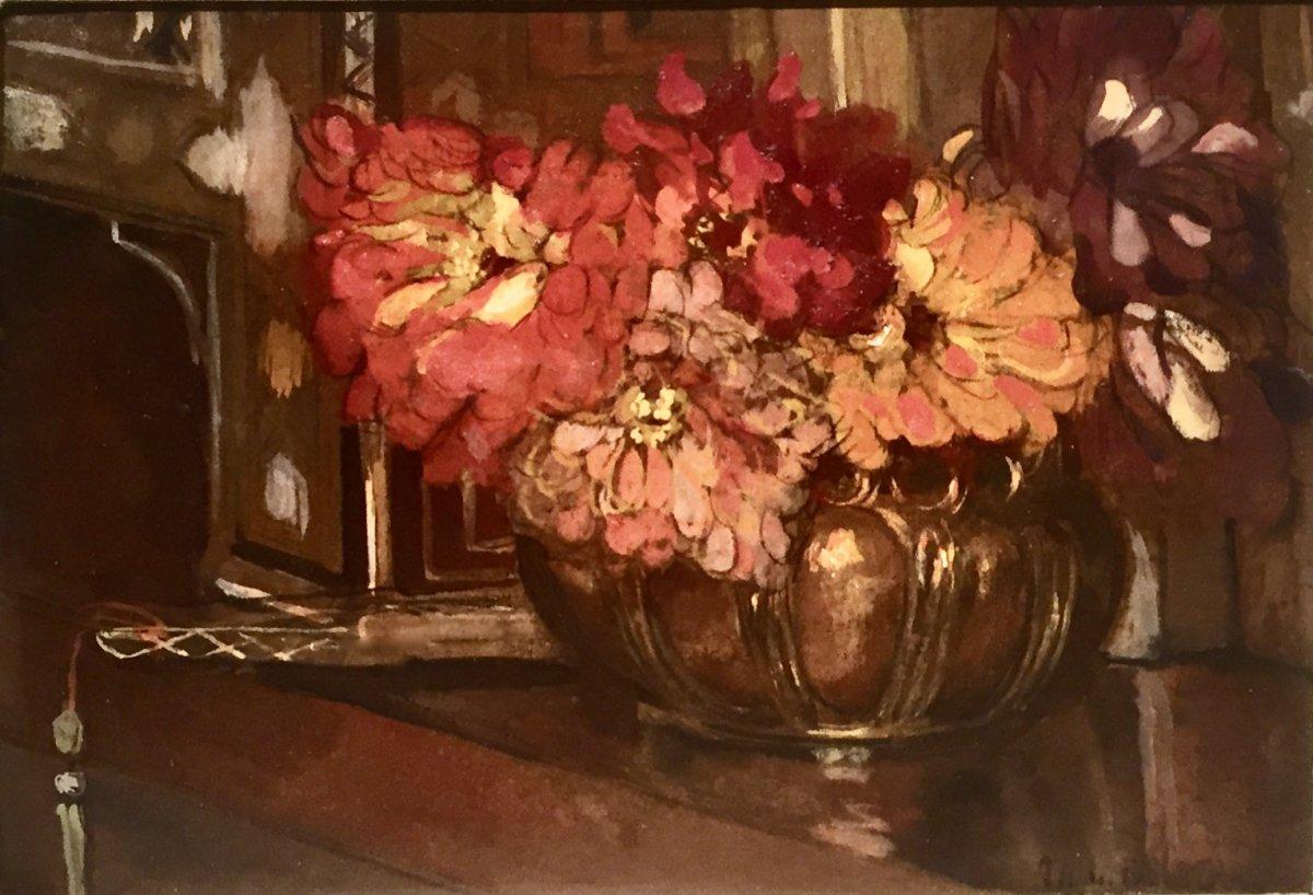 Marguerite Mary DARBOUR (XIX/XXème) - FLEURS dans POT en CUIVRE