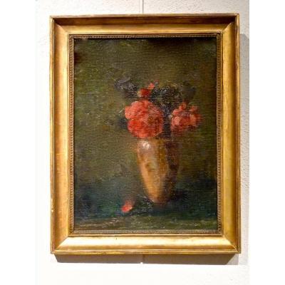 Fleurs dans un vase Ecole Lyonnaise du XIXème - Non signé