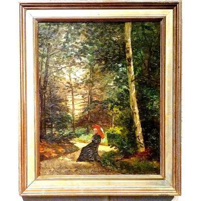 1895 ! Femme à l'ombrelle par JEANNE GIRARD-CONDAMIN (XIXème)