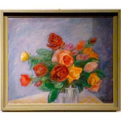 Roses en bouquet par JEAN PERRET (1910-2003)