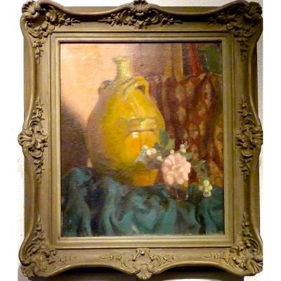 Etoffes, cruche, fleur, une composition de Louis CHARRAT
