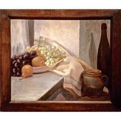 Raisins, prunes, poires, pichet, bouteille: Composition