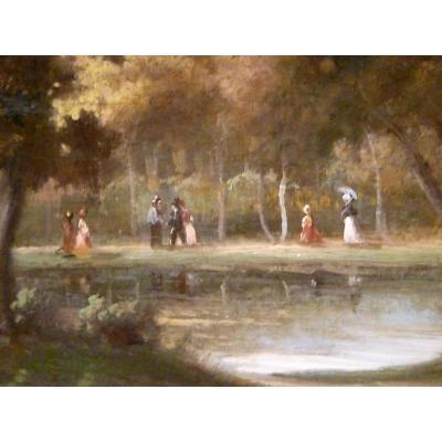 Promenade à Fontainebleau - XIXème - Non signé