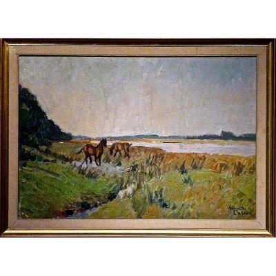 Chevaux au pré par Huguette CARRON (1900-1976)