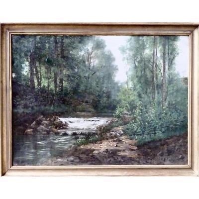 Cascade - rivière en sous bois - XIXème - signature illisible