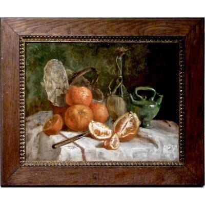 Oranges sur nappe - XIXème - non signé