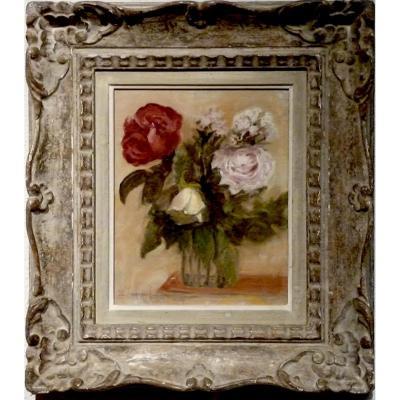 Cinq roses dans un pot en verre par Léon GARRAUD (1877-1961)
