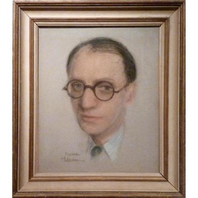 Homme aux LUNETTES RONDES pastel de Pierre THEVENIN (1905-1950)