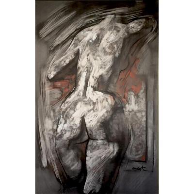 LE GRAND MOUVEMENT - GRAND DESSIN DE NU par Georges OUDOT (1928-2004)