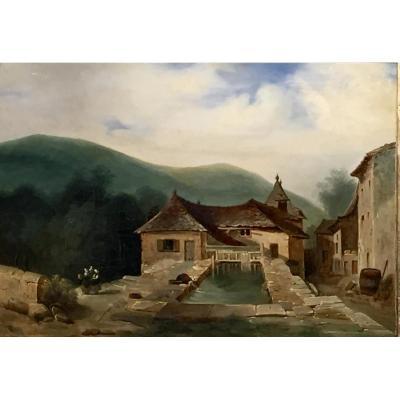 LAVOIR de VILLAGE animé - Monogrammé L.C. 1844