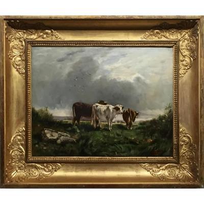 AU PRE DES VACHES par FOREST (1808-1891)