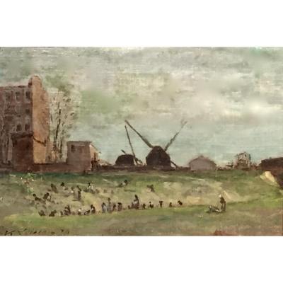 JEUX de BOULES des AUVERGNATS - MONTMARTRE 1874 par V.LOISEAU