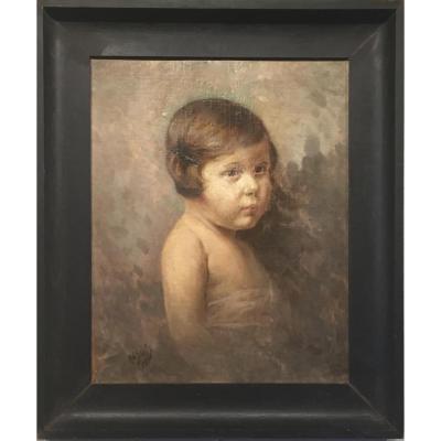 PETITE FILLE à la barrette par Robert SCHEFFER (1859-1934)