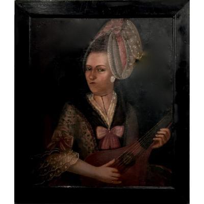 FEMME au XVIII ème siécle jouant de la MANDOLINE
