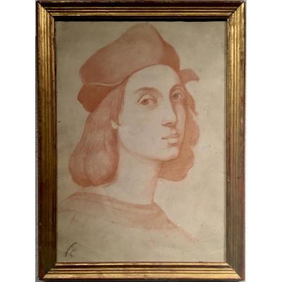 RAPHAEL - Autoportrait d'après tableau de 1506 - Sanguine XIX ème - non signée