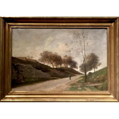 Horace Antoine FONVILLE (1832-1914) Route animée et Fortifications