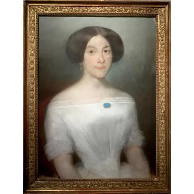 Années 1830 - JEUNE FEMME à la BROCHE TURQUOISE - Non signée