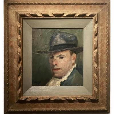 Edmond HEUZE (1884-1967) - Autoportrait années 20