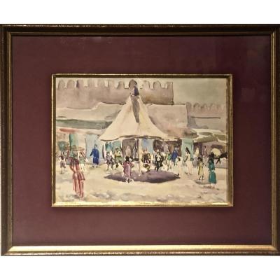TLEMCEN 1934/36 - Aquarelle d'Eugène BILLAUD (1888-1964)